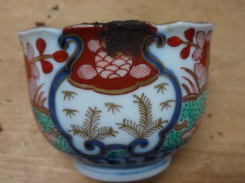 江戸時代 色絵蕎麦猪口の金継ぎ 2