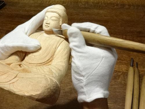 寄木造りの制作行程 16 釈迦如来坐像 仕上げの段階 (ニコニコ動画の話題の動画に取り上げられました。)