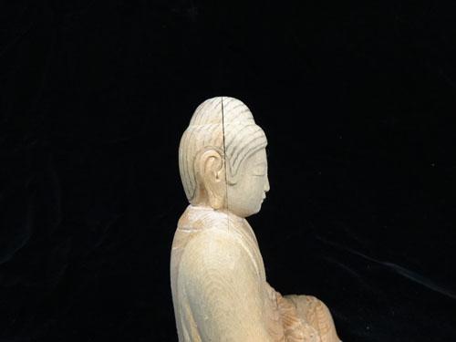 寄木造りの制作行程 18 釈迦如来坐像 螺髪の下図線。