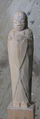 彫刻刀(印刀)一本で仏像彫刻 宝珠を持ったお地蔵様を彫る 仕上げの一歩手前まで 3