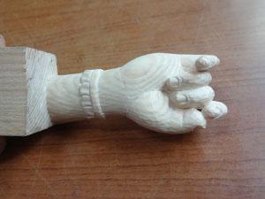 仏像の手の彫刻 握り手の制作行程 8