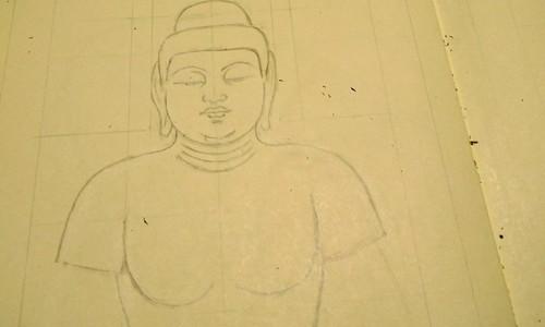 仕上げない仏像の下図と仏像彫刻