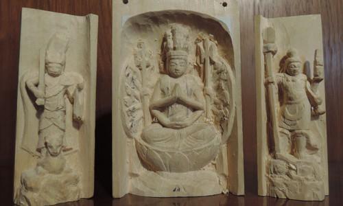 三尊像の彫刻 千手観音坐像 飯綱権現立像 毘沙門天像 14 手の彫刻