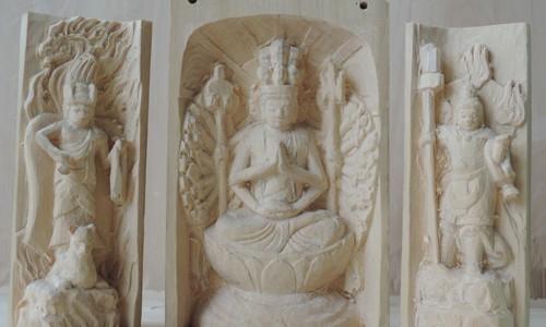 三尊像の彫刻 千手観音坐像 飯綱権現立像 毘沙門天像 15 光背の彫刻