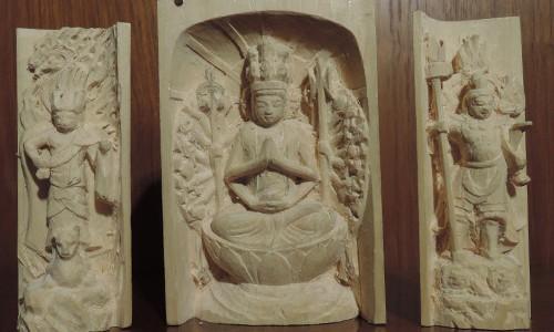 三尊像の彫刻 千手観音坐像 飯綱権現立像 毘沙門天像 16 光背の彫刻