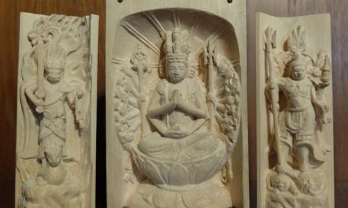 三尊像の彫刻 千手観音坐像 飯綱権現立像 毘沙門天像 20 中尊の仕上げ