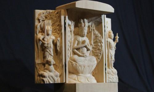 三尊像の彫刻 千手観音坐像 飯綱権現立像 毘沙門天像 22 三尊像の完成