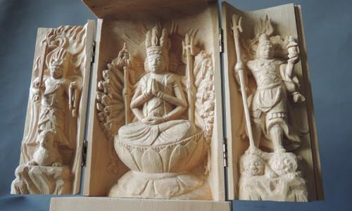 三尊像の彫刻 千手観音坐像 飯綱権現立像 毘沙門天像 23  彫り直し 完成
