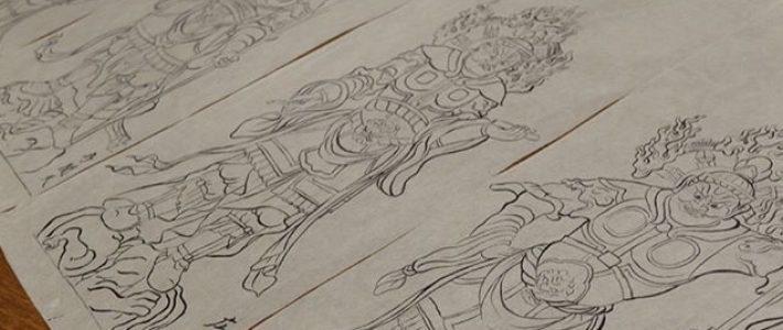 四天王像の下絵の完成