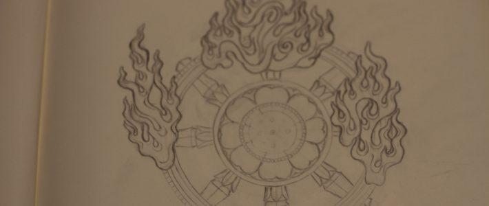 四天王像の光背の下図